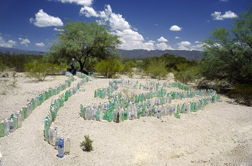 Ruta 40 ... Roadside Bottle Altar Dedicated to Save Driving